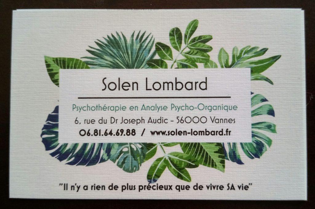 carte de visite coordonnées rendez-vous Solen Lombard psy